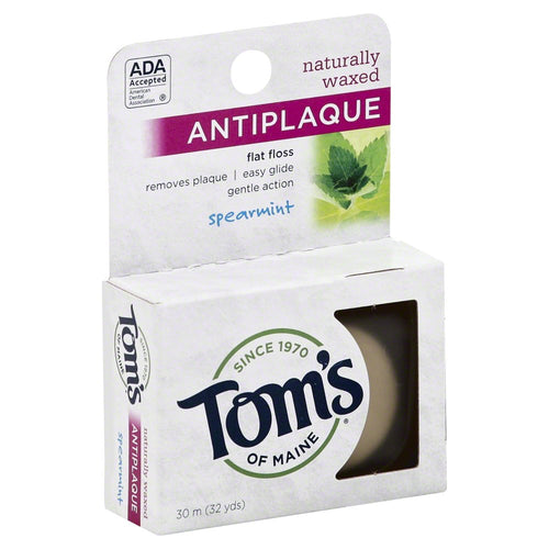 Tom's of Maine Natural Waxed Antiplaque Flat Floss, Spearmint, 32 yd
