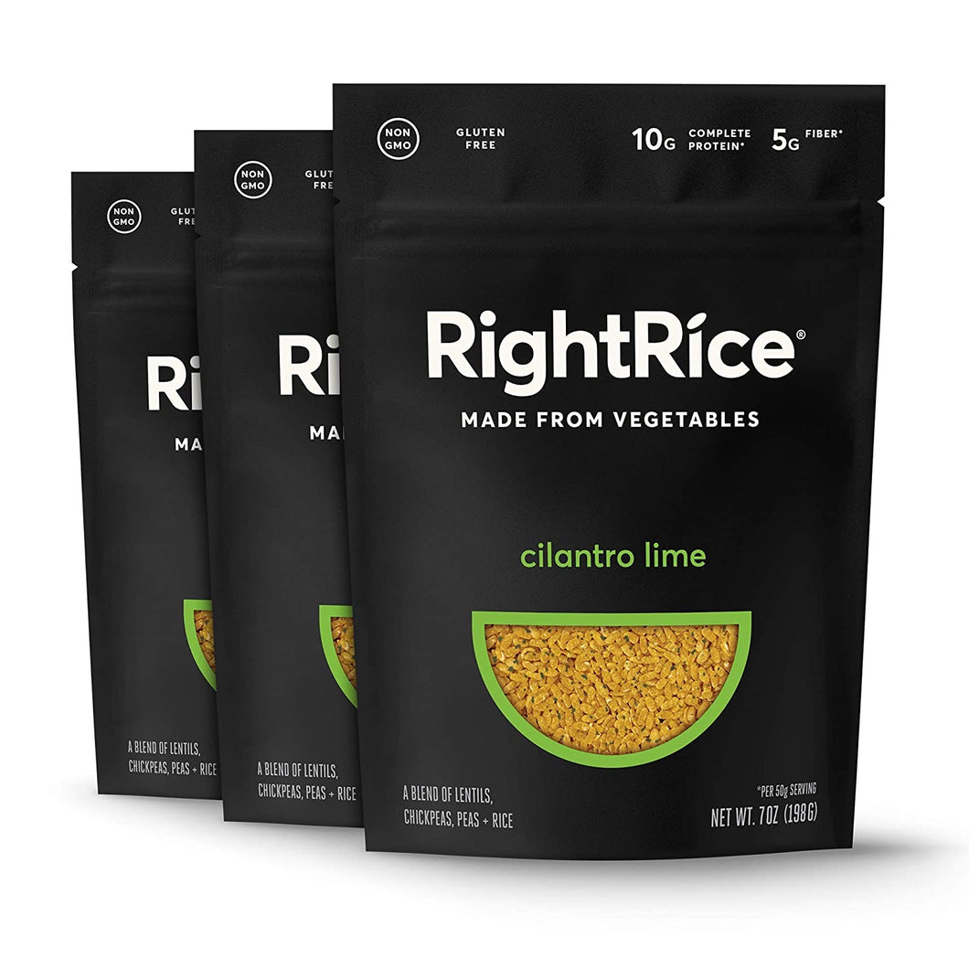 RightRice - Cilantro Lime (7oz. Pack of 3) - Made from Vegetables - High Protein, Vegan, non GMO, Gluten Free