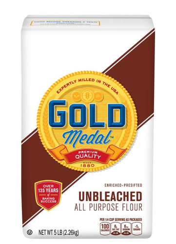 Gold medal unbleached all purpose flour 5lbs bag