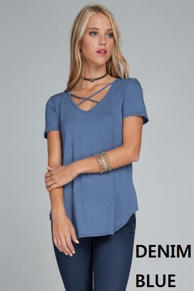 Criss Cross Sass (Denim Blue)