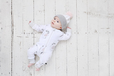 Anarkid Baby Anarkid Winter Owl Zip Romper in Grey & Copper