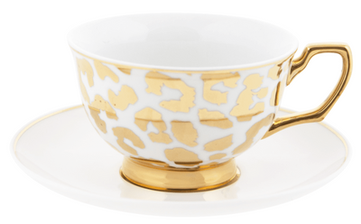 Cristina Re Teacup & Saucer Louis in Gold Leopard