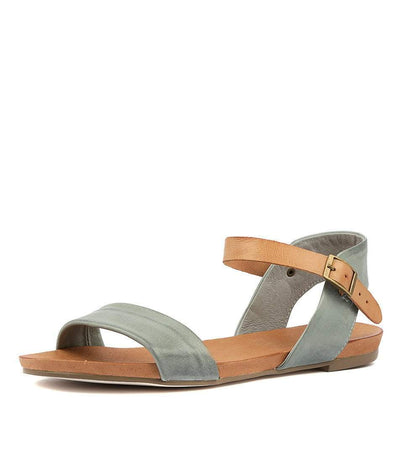 Django and Juliette Django and Juliette Jinnit Flat Sandals in Steel & Tan Leather