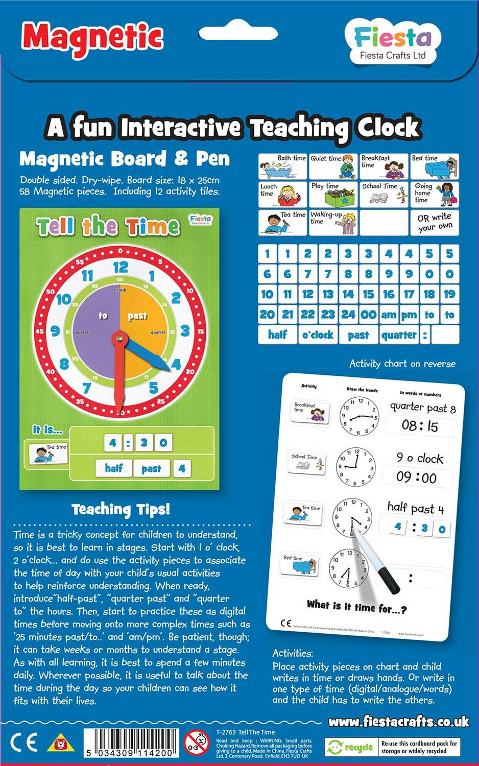 Perfect Clock Chart For Kids Illustration - Math Exercises ...