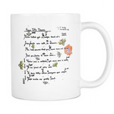 Calpernia Lyric Mug - Choose Your Song - Calpernia Addams Music Art Tees T-Shirts Shirt Dress Dresses Totes Mugs Tote Mug Lyrics Lyric Hand Written Hand Drawn Hand Written Concert Musician Snake Man Man's Mans Men's Mens Woman Women's Women's Woman's Woman's Girl Girls Girl's Boa Constrictor Anaconda Squeeze Funny Comic Vintage Original Unique