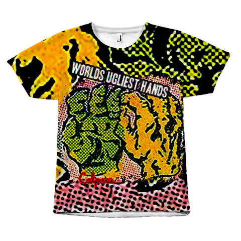 Calpernia Graphic T Shirt - World's Ugliest Hands (All Over Print) - Calpernia Addams Music Art Tees T-Shirts Shirt Dress Dresses Totes Mugs Tote Mug Lyrics Lyric Hand Written Hand Drawn Hand Written Concert Musician Snake Man Man's Mans Men's Mens Woman Women's Women's Woman's Woman's Girl Girls Girl's Boa Constrictor Anaconda Squeeze Funny Comic Vintage Original Unique