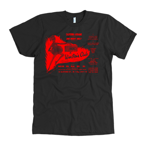 Calpernia Concert T Shirt - One Night Only (Red on Various Colors) - Calpernia Addams Music Art Tees T-Shirts Shirt Dress Dresses Totes Mugs Tote Mug Lyrics Lyric Hand Written Hand Drawn Hand Written Concert Musician Snake Man Man's Mans Men's Mens Woman Women's Women's Woman's Woman's Girl Girls Girl's Boa Constrictor Anaconda Squeeze Funny Comic Vintage Original Unique