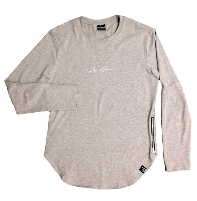 Signature side zip tee- Grey
