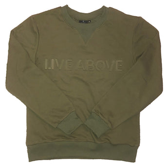 Embossed Live Above Crewneck - Olive