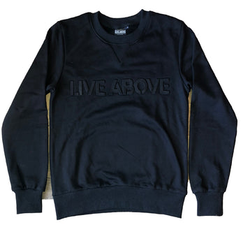 Embossed Live Above Crewneck - Black