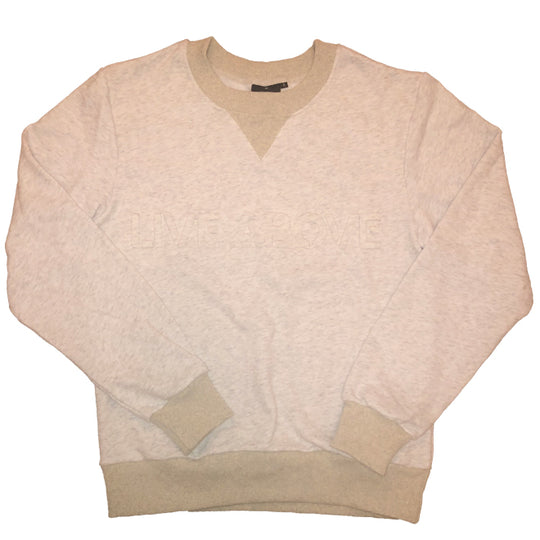Embossed Live Above Crewneck - Heather Marble