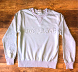 Embossed Live Above Crewneck - Mint Blue