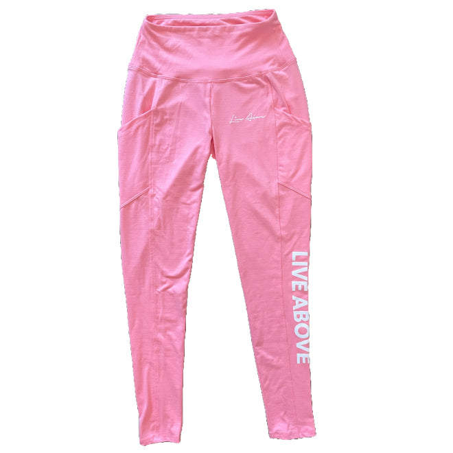 Women High Waisted Leggings- Bubble Gum Pink