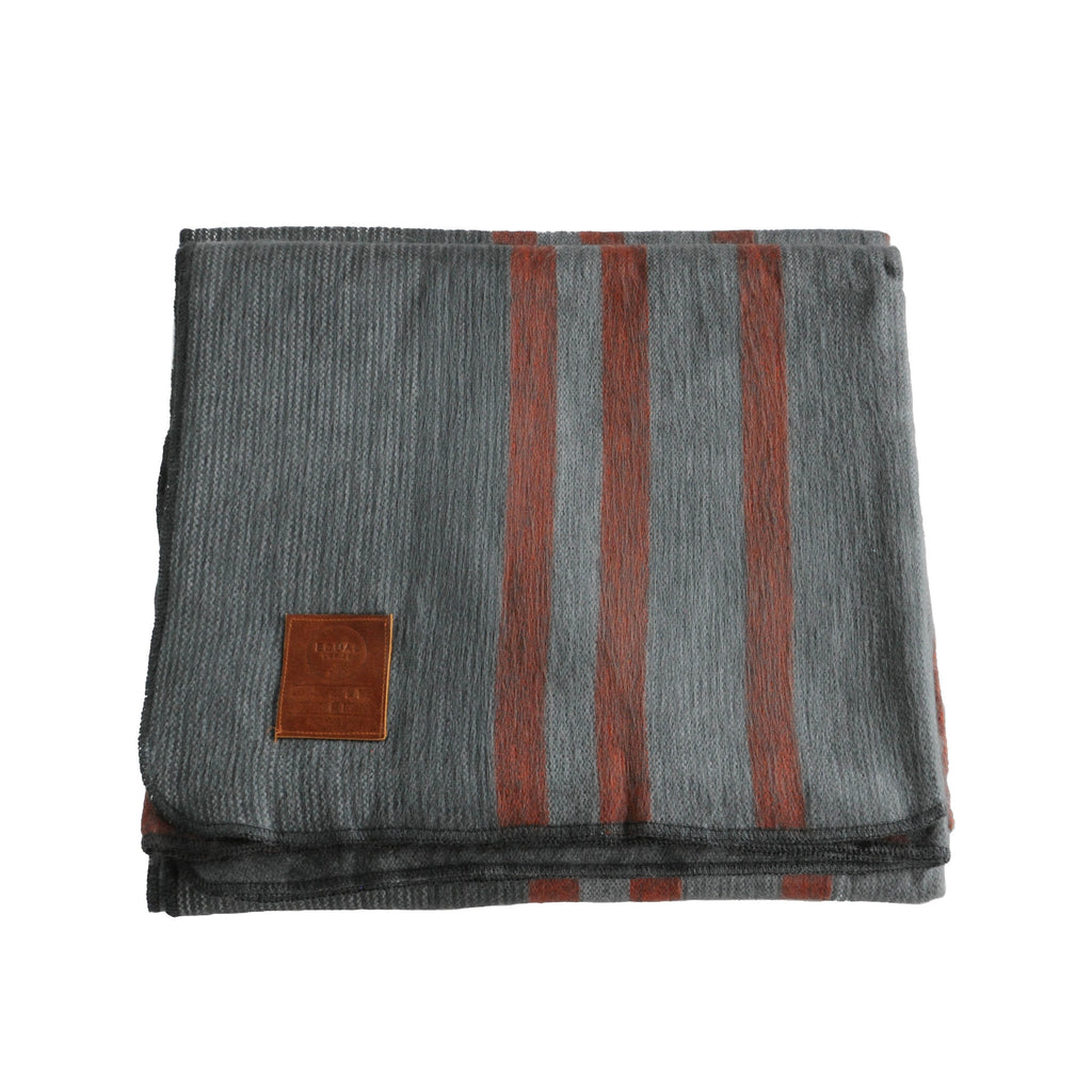 Alpaca Blanket - Charcoal and Red Stripes - EQUAL UPRISE