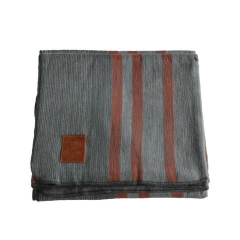 ALPACA BLANKET - CHARCOAL & RED STRIPES - EQUAL UPRISE