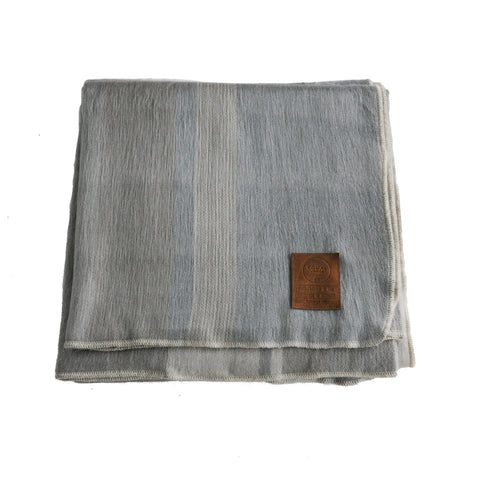 ALPACA BLANKET - LIGHT BLUE & GREY STRIPES - EQUAL UPRISE