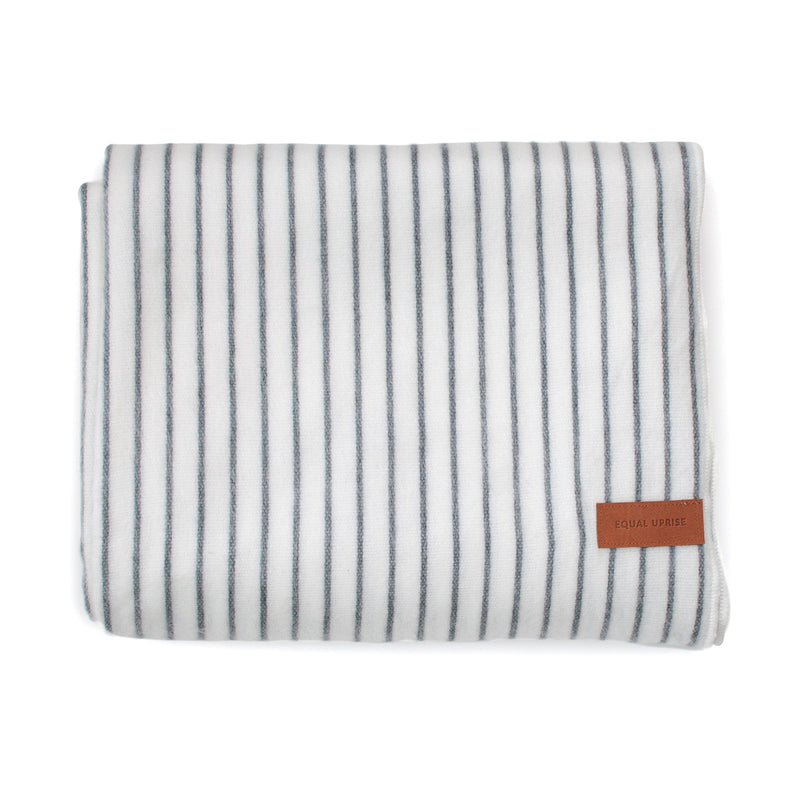 Alpaca Blanket - White & Grey Stripes