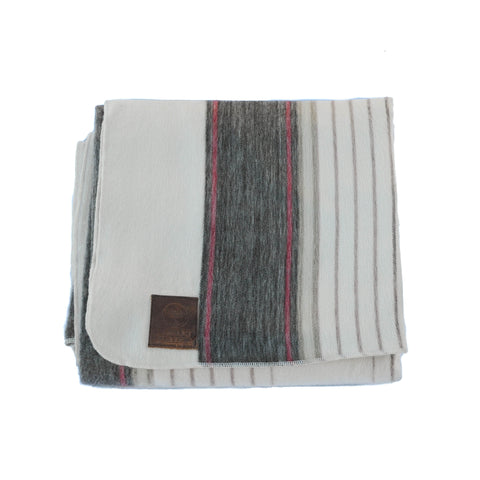 ALPACA BLANKET - NEUTRAL & ORANGE STRIPES - EQUAL UPRISE