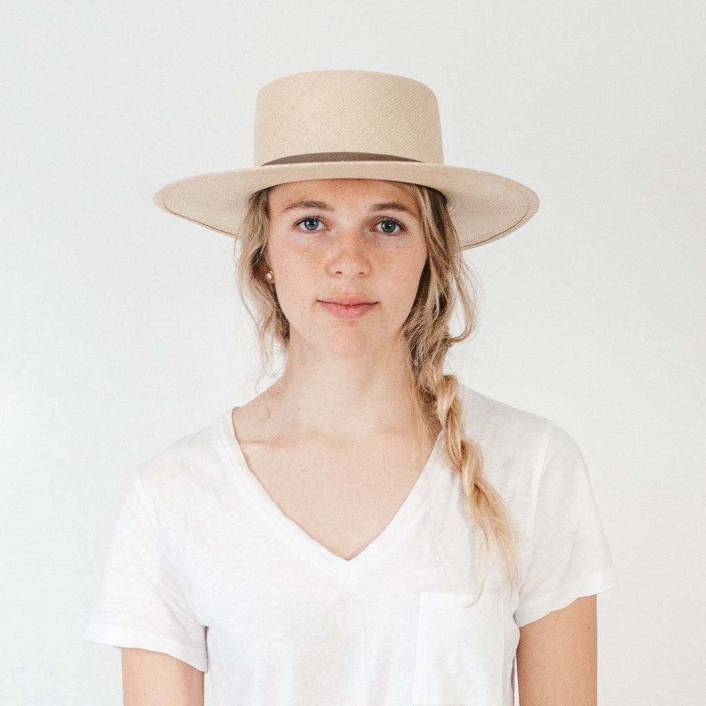 Flat Top Straw Hat - Natural