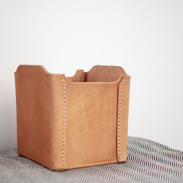 Leather Basket - Natural - Small