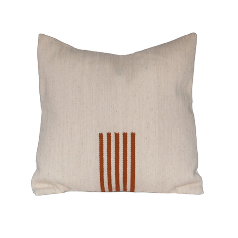 4-Way Pillow Cover - Natural & Terra Cotta Stripes