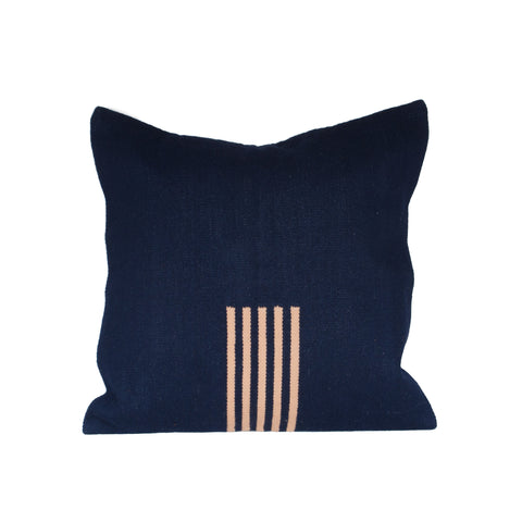 4-Way Pillow Cover - Navy & Pale Peach Stripes