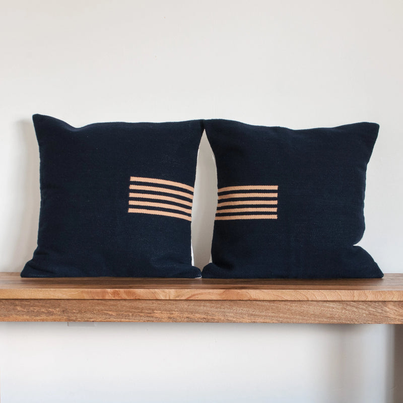 4-Way Pillow Cover - Navy & Pale Peach Stripes - EQUAL UPRISE