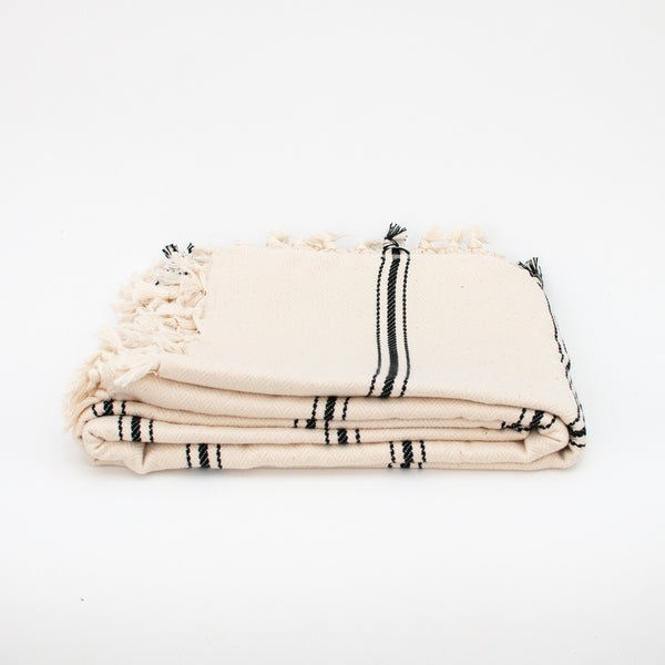 Peshtemal Coverlet - Ivory with Black Stripes