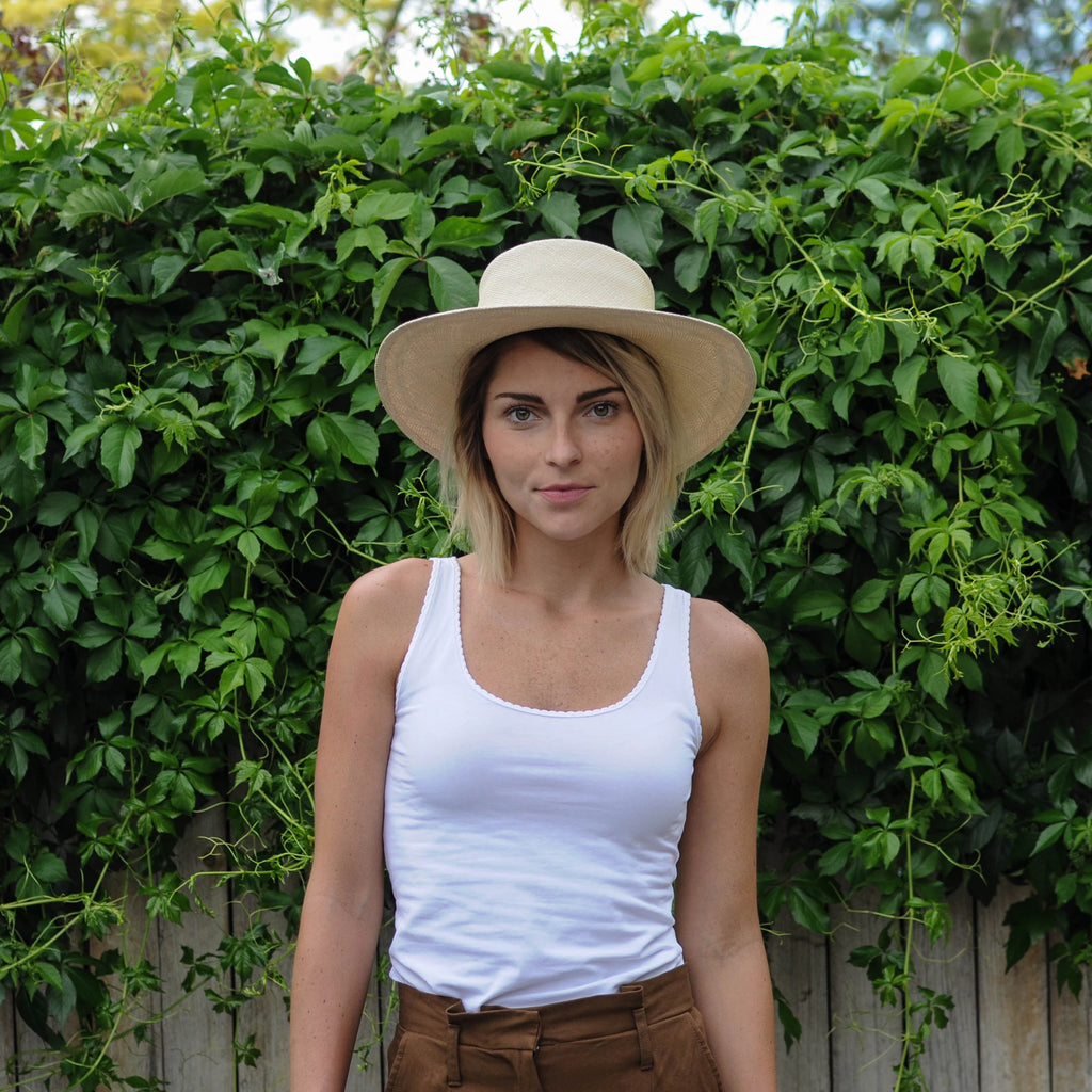 Flat Top Straw Hat - Natural - EQUAL UPRISE