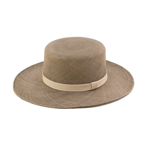 Flat Top Straw Hat - Olive