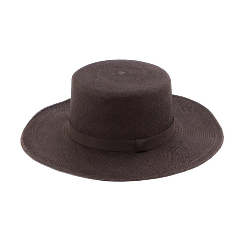 Flat Top Straw Hat - Deep Plum