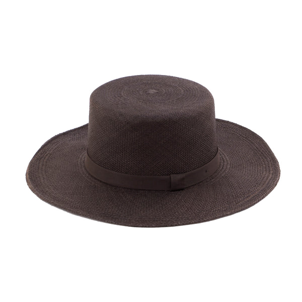 Flat Top Straw Hat - Deep Plum - EQUAL UPRISE