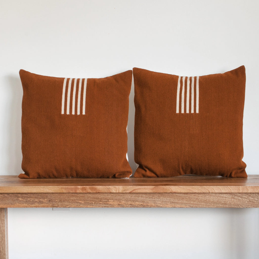 4-Way Pillow Cover - Terra Cotta & Natural Stripes