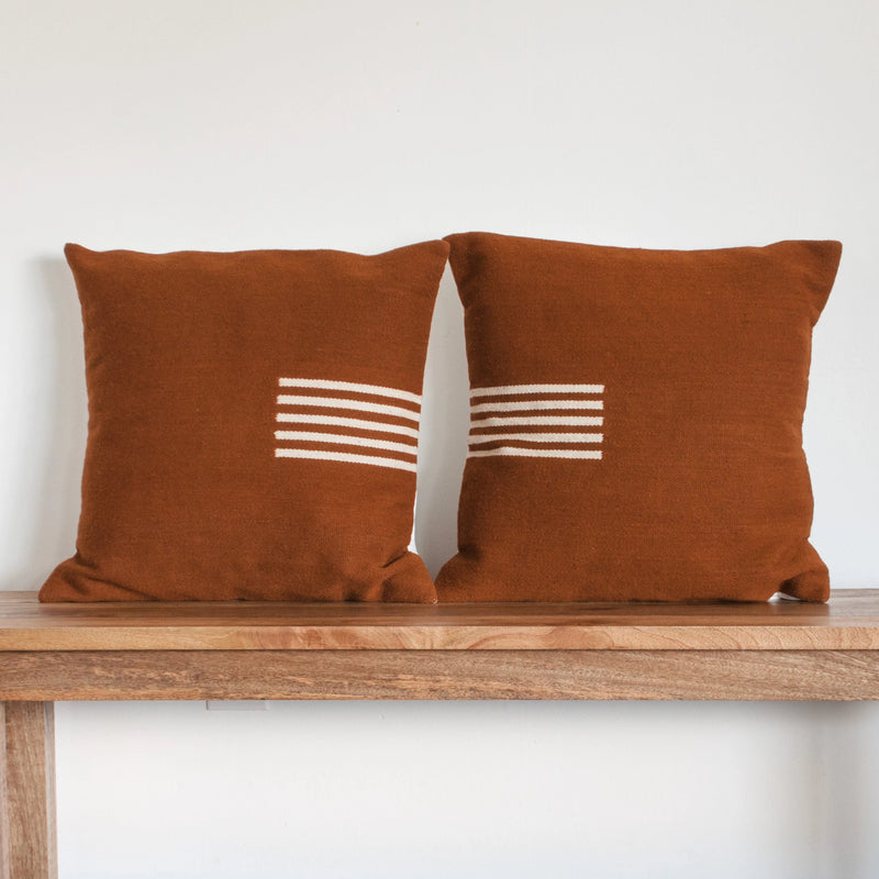 4-Way Pillow Cover - Terra Cotta & Natural Stripes - EQUAL UPRISE