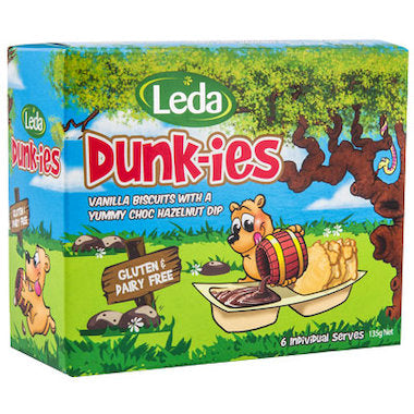 Leda Nutrion Dunkies Vanilla Biscuits with Hazelnut Dip (6 x 22.5g)
