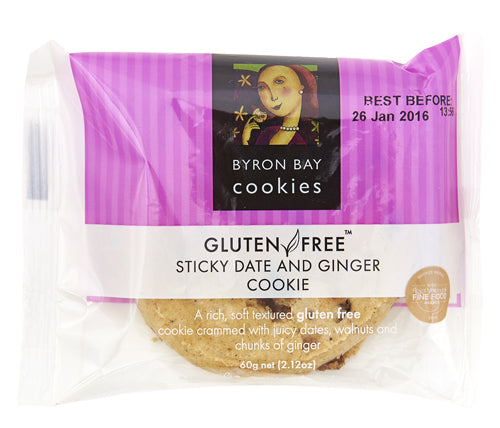 Byron Bay Cookies - Gluten Free - Sticky Date & Ginger 60g)