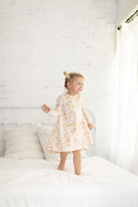 Long Sleeve Cream, Pink and Rust Floral dress