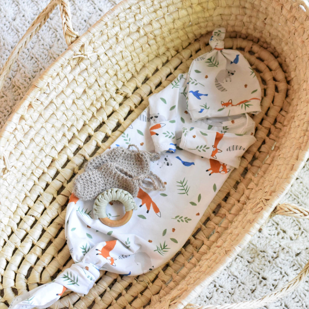 woodland knotted newborn gown