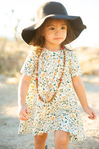 Vintage Floral Tee Dress for Girls