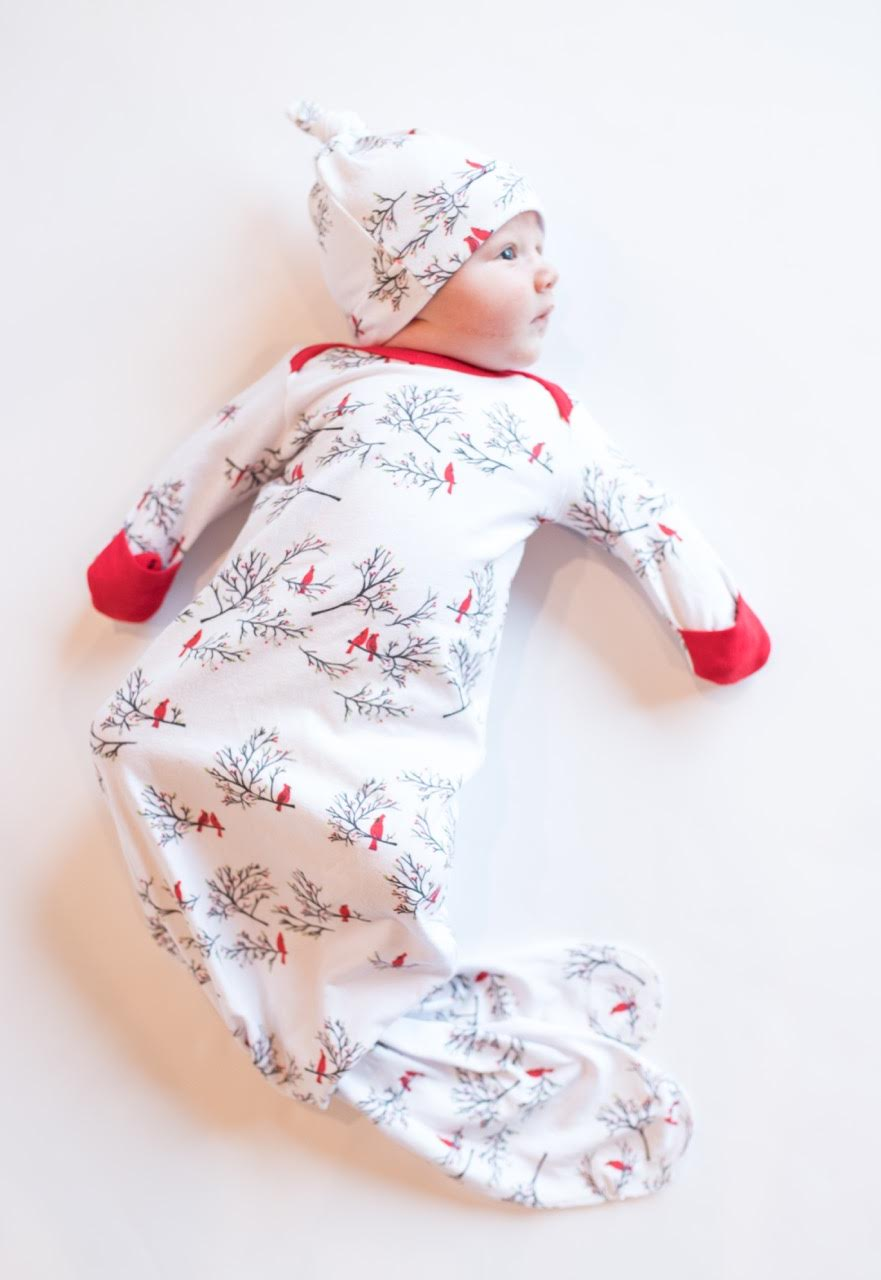 christmas baby coming home outfit, winter coming home outfit, knotted gown