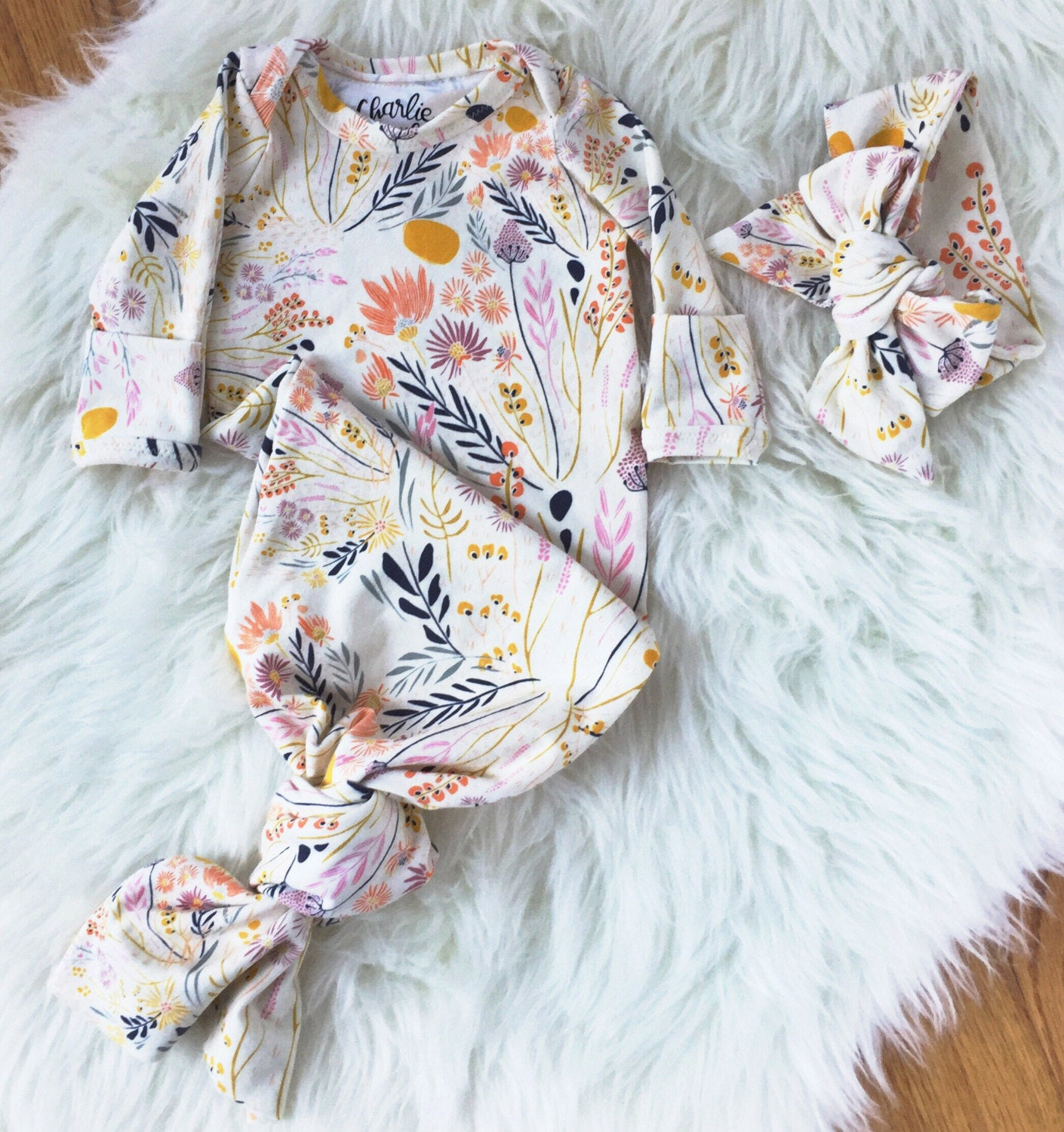 cream floral newborn coming home outift