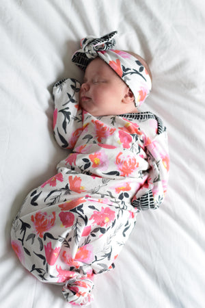 pink floral knotted newborn gown coming home outfit