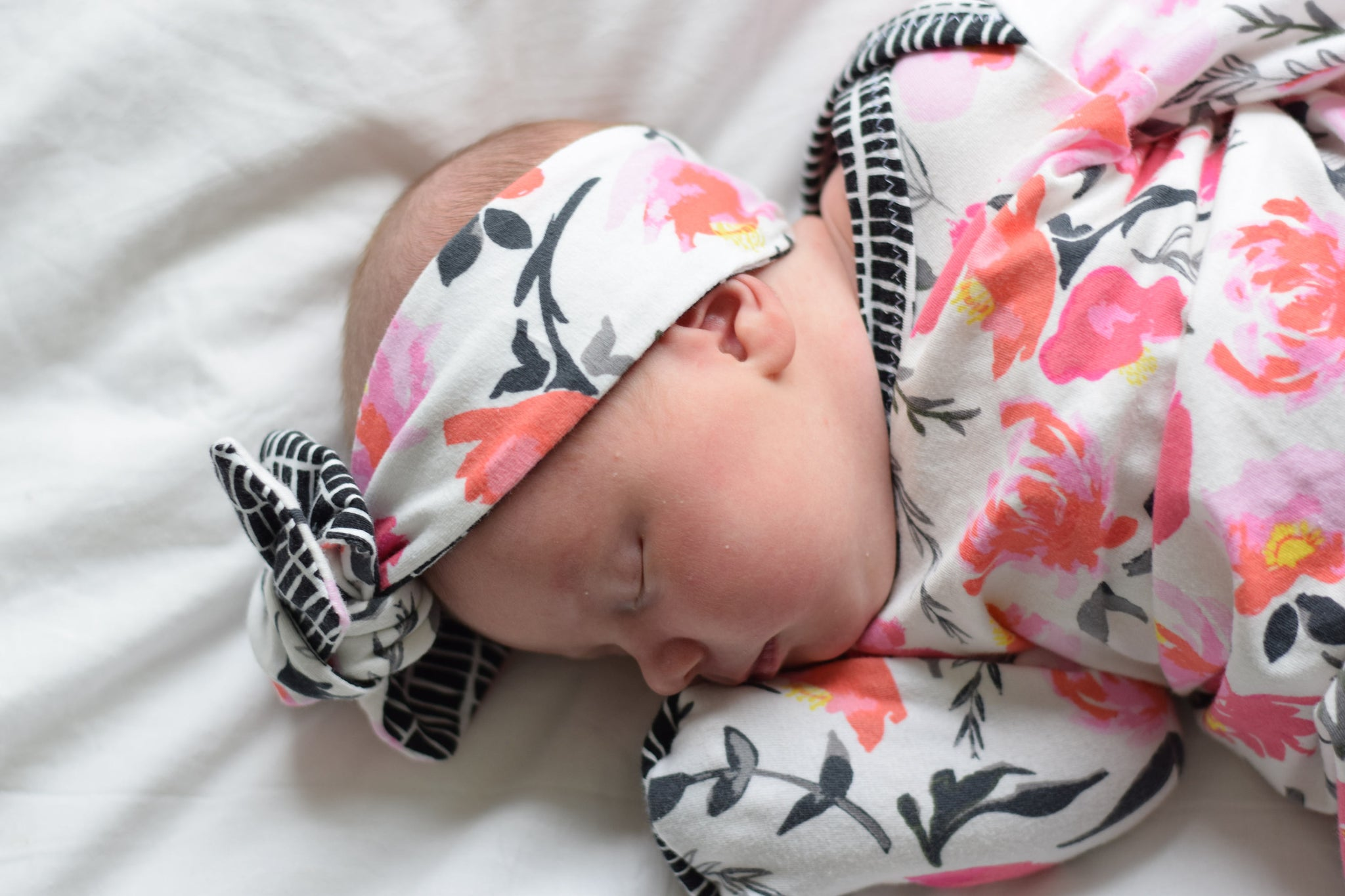 pink and black floral knotted newborn gown coming home outfit