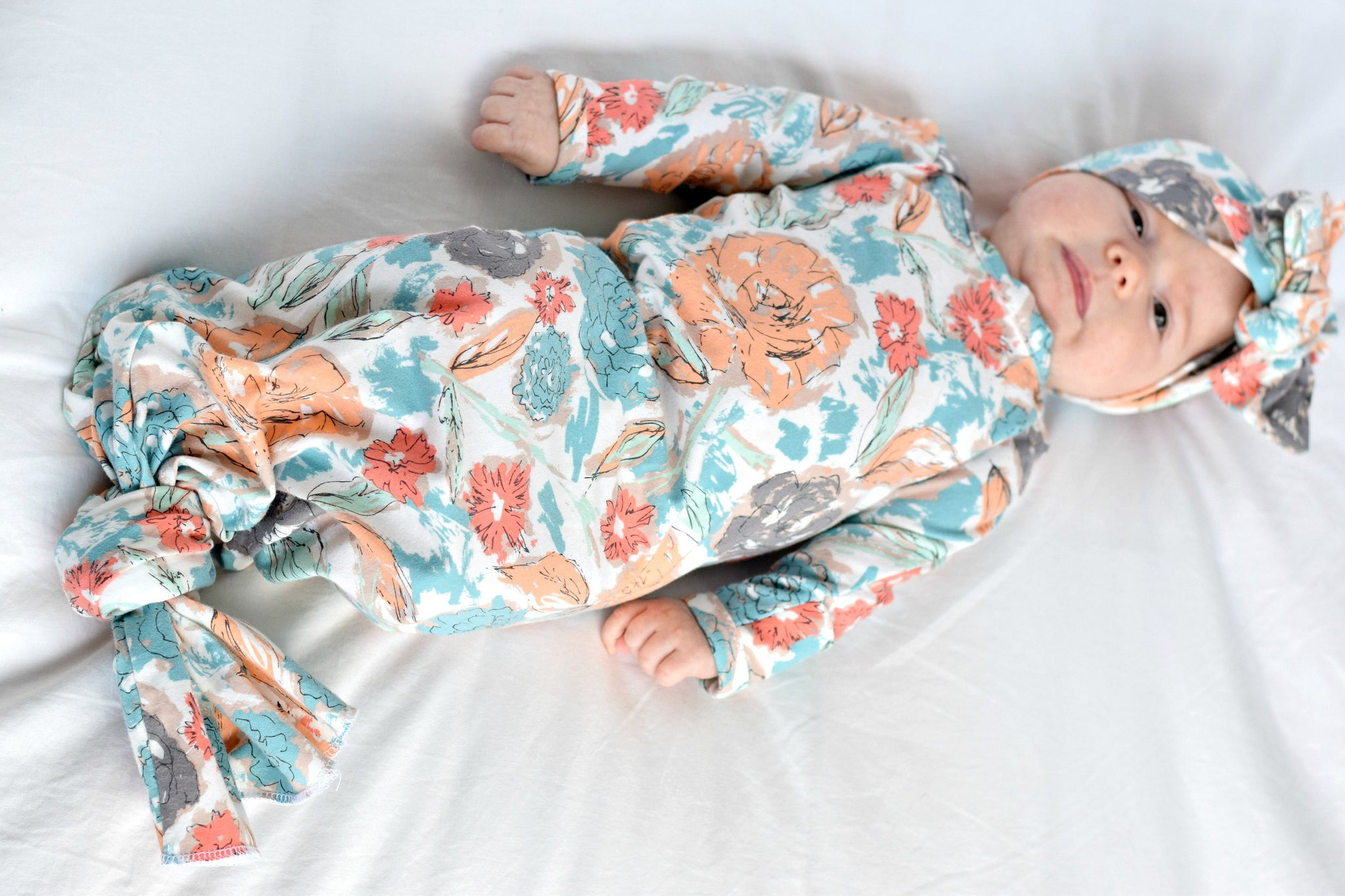 coral and blue floral knotted gown newborn coming home outfit