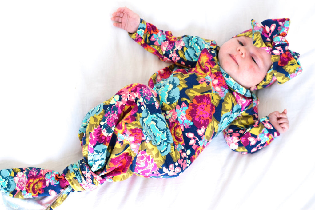 navy boho floral knotted newborn gown coming home outfit