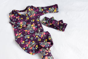 burgundy floral knotted newborn gown coming home outfit