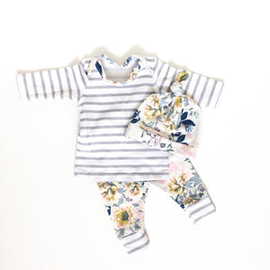 gray stripe with blue floral newborn coming home outfit