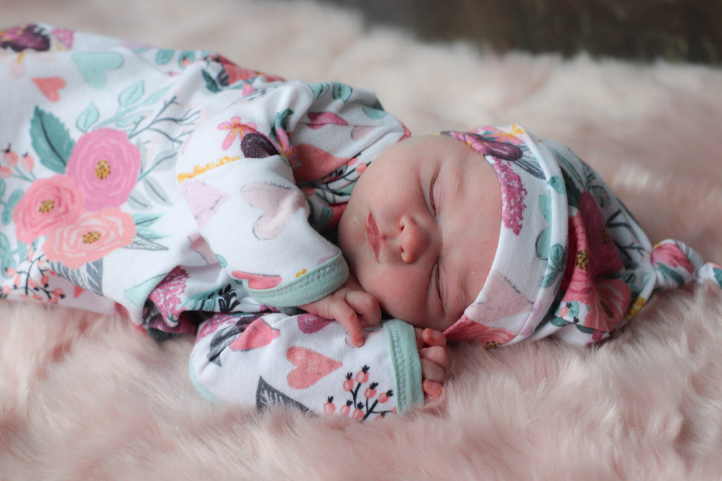 muted floral knotted newborn gown coming home outfit