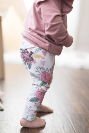 chalk floral baby girl leggings