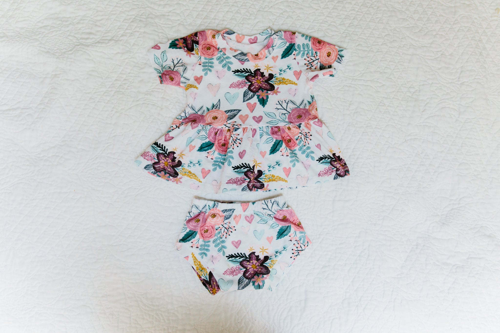 peplum tee and baby shorts set chalk floral